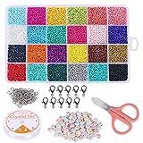 Pulluo 24000 piezas Craft Seed Beads 24 Colores de Cuentas de Cristal 2 mm de Cuentas con 100 de Latidos de Letras y Herramienta de Rebordes Para Pulsera de Niños y Adultos/Manualidades de Arte DIY