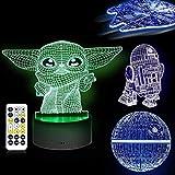 LOYALSE 16 colores 3D Illusion Star Wars Night Light, 4 modelos Star Wars Toys Lámpara de noche LED para la decoración de la habitación Grandes regalos de cumpleaños para los fans de Star Wars