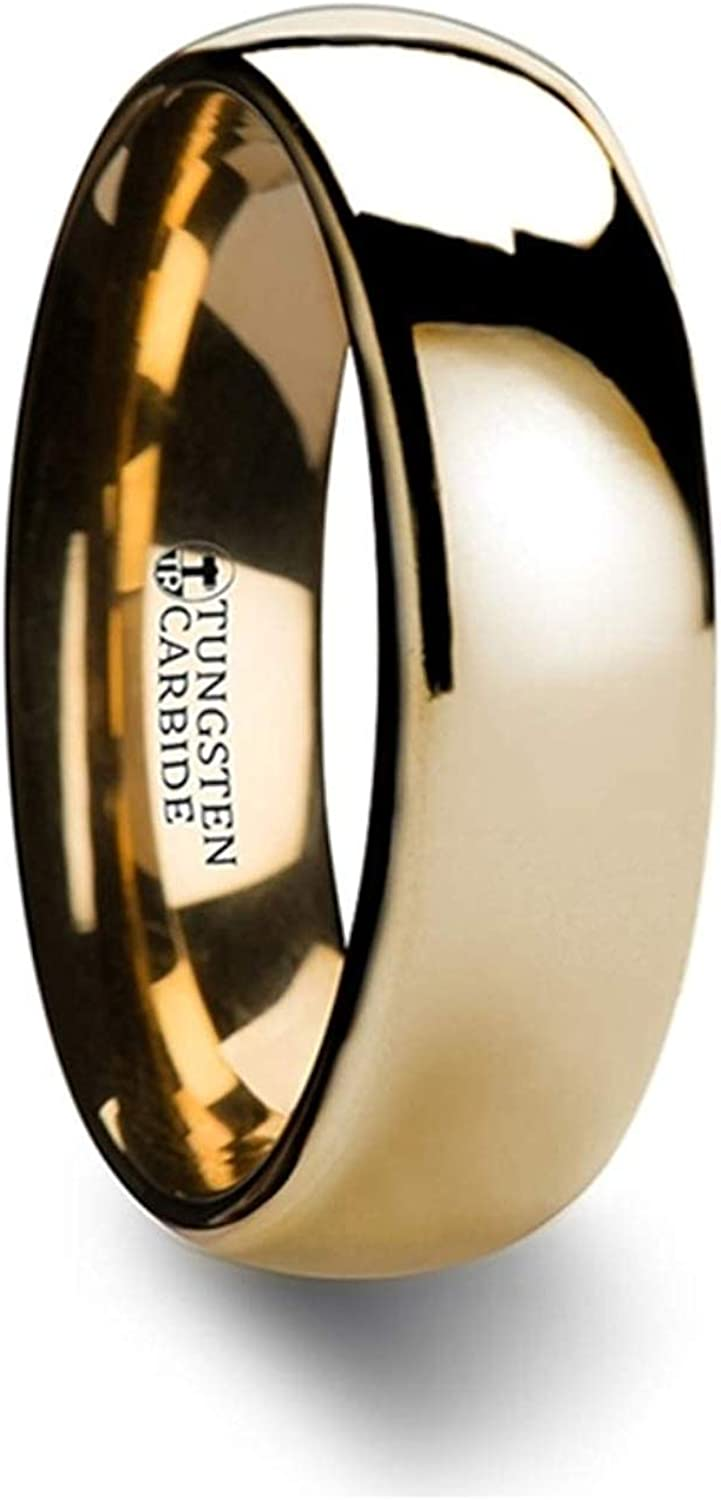 Thorsten ORO | Tungsten Rings for Men | Tungsten | Comfort Fit | Custom Engraving | Traditional Domed Gold Tungsten Carbide Wedding Ring Band - 4mm