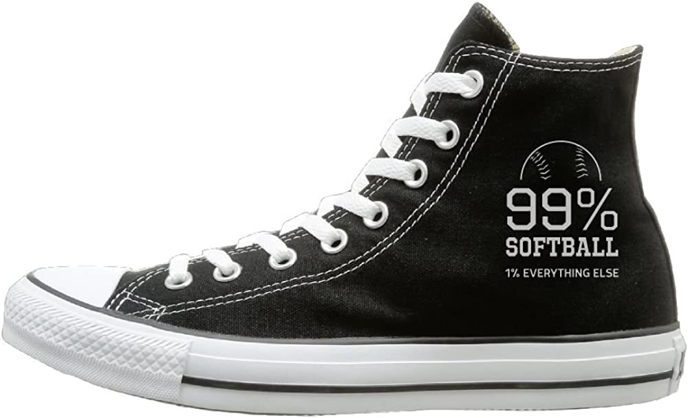 Shenigon 99/% Softball 1/% Everything Else Canvas Shoes High Top Design Black Sneakers Unisex Style