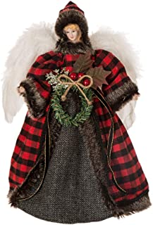 Glitzhome Handmade Plaid Angel Figurine Christmas Treetop Ornament Decoration 12