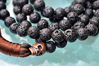Lava Mala beads necklace | Black volcano stone beads | red copper skull bead | 8mm 108+1 Basalt lava Beads | Third Chakra | Self Esteem Will power Vitality Desire | mens jewelry | US Seller