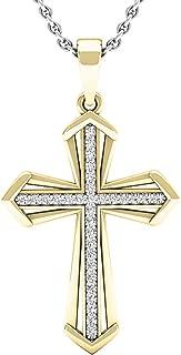 0.15 Carat (ctw) 14K Gold Round Diamond Men's Ladies Unisex Cross Pendant 1/5 CT