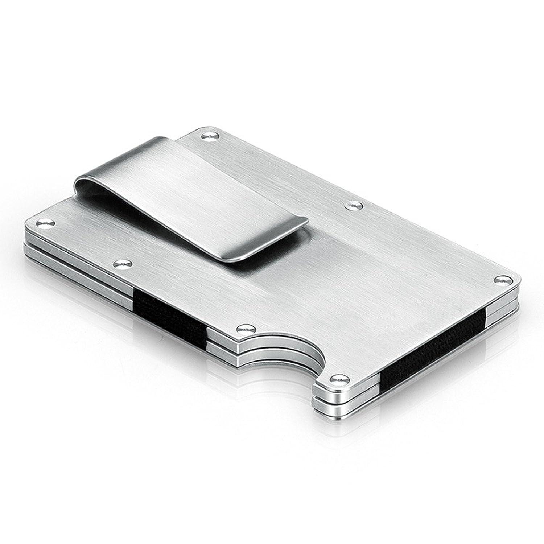 【Nice Ones】マネークリップ付 クレジットカードケース カードホルダー 名刺入れ RFID機能 磁気防止 ステンレス カード収納 薄型 12枚収納 アルミ 持ち運び便利 男女兼用 プレゼント ギフト