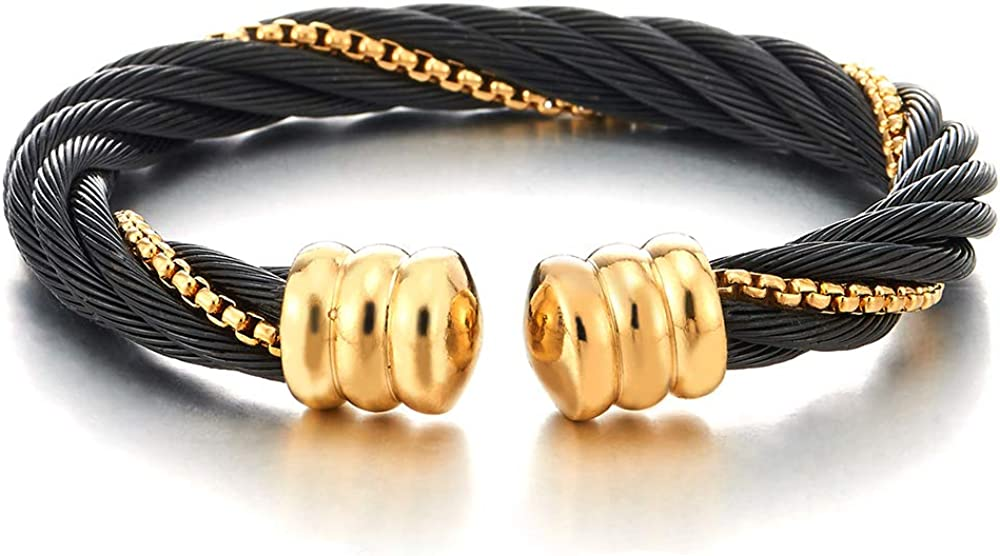 COOLSTEELANDBEYOND Mens Womens Large Elastic Adjustable Steel Twisted Cable Curb Chain Cuff Bangle Bracelet, Black Gold