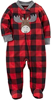 Carter's Baby Boys' Plaid Moose Zip Up Fleece Sleep And Play 6 Months