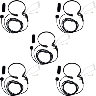 Retevis 2 Pin Throat Mic Covert Acoustic Tube Earpiece with PTT for Baofeng UV-5R BF-888S Retevis H-777 RT22 RT21 RT27 H-777S Walkie Talkies (5 Pack)