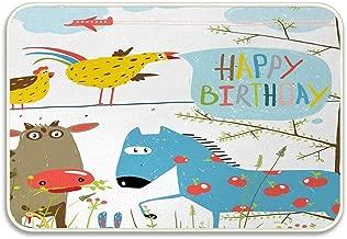 Huayuanhurug Farm Animals Cartoon with Happy Birthday Quote Countryside Party Horse Cow and Hen Doormat Floor Bath Entrance Rug Mat Bathroom Decor Rubber Non Slip 23.6