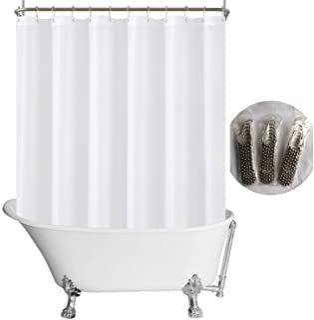 پرده دوش دستشویی پارچه ای N&Y HOME ابعاد 180 All 70 اینچ در اطراف ، 36 قلاب ، کیفیت هتل ، قابل شستشو ، ضد آب ، الماس پرده حمام سفید با الماس