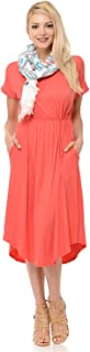 Women's Short Sleeve Flare Midi Dress with Pockets in Solid and Floral - Made in USA