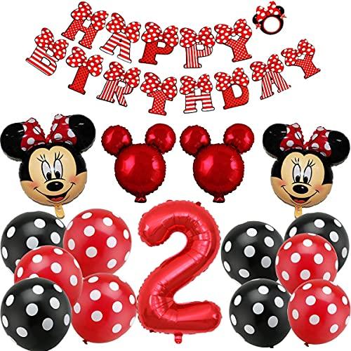 Decoraciones de Cumpleaños de Mickey, BESTZY Globos número para la Fiesta Temática de Mickey Artículos de Fiesta de Mickey y Minnie para Segundo Cumpleaños