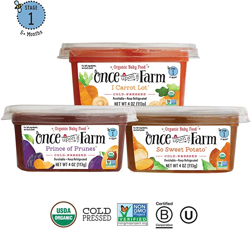 Once Upon A Farm Organic Stage 1 Baby Food Cups Cold Pressed Refrigerated For 5 Months And Up Variety Pack Of 12