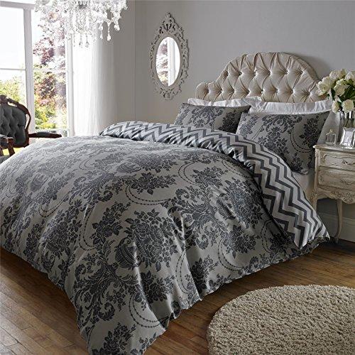 ASAB 200TC Damask Print Cotton Rich Duvet Quilt Cover & Pillow Case Bedding Set - Superking Charcoal & Black