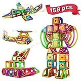 Blusmart BB-158 Magnetische Bausteine 158 Teiliger Pädagogisches Bauspielzeug Mehrfarbig Tragetasche Riesenräder und Verschiedene Karten für Kinder Alter 3 4 5 6 7 8