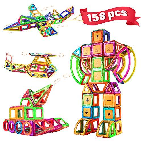 Blusmart 158 Pezzi Blocchi Costruzioni Magnetiche, Giocattolo da Costruzione Educativo, Imparare Numeriche Alfabetiche Carte 3D Ferris Wheel / Car / Robot Regalo educativo per bambini 3 4 5 6 7 8 Anni