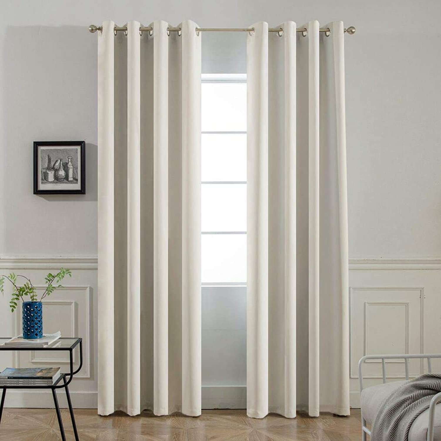 Yakamok Room Darkening Thermal Insulated Light Reducing Blackout Curtains for Living Room,2 tie Backs Included (52Wx96L, Light Beige, 2 Panels)