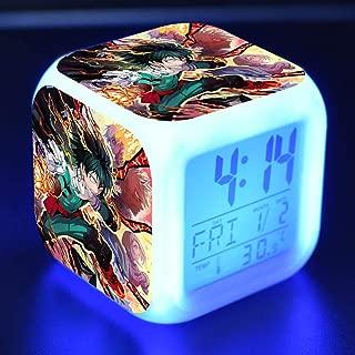 WerNerk My Hero Academia-Todoroki/Izuku Midoriya Deku/Katsuki Colorful Square Luminous Night Light Alarm Clock(no Battery)(H05)