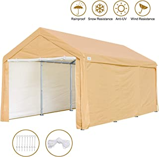 ADVANCE OUTDOOR 10 x 20 ft Heavy Duty Carport Canopy Car Garage Shelter Party Tent with Removable Sidewalls and Doors, Beige