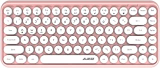 NACODEX 84-Key Pink Wireless Bluetooth Keyboard with Cute Retro Round Keycaps, Comfortable Ergonomic Typewriter Keyboard C...
