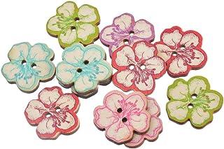 Pacote com 30 botões de madeira em forma de flor de pêssego com 2 furos da Souarts