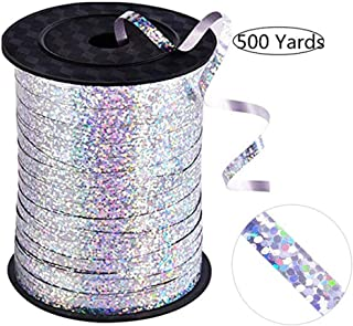 500 Yards of Shiny Silver Balloon Ribbon for Parties, Florists, Weddings, Party Decorations, Crafts and Gift wrap. (Silver)