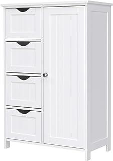 Vasagle LHC41W Buffet de Salle de Bain en Bois avec 4 tiroirs, Porte d'armoire, étagère réglable, Salon, Cuisine, Couloir,...