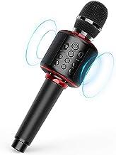 Wireless Bluetooth Karaoke Microphone Black with Solo/Duet Karaoke Mics, 4 in 1 Portable..