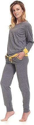 dn-nightwear Damen Schlafanzug/Pyjama Lilly/langärmlig