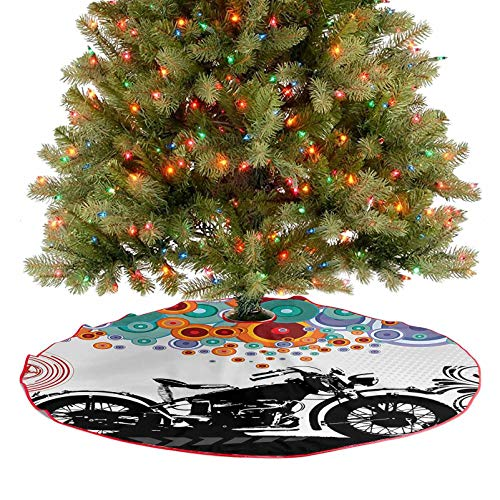 Merry Christmas Tree Skirt Motorcycle and Abstract Circle Shapes Ornament Urban Modern Life Clubs Party Im 2020 New Christmas Tree Skirt Decoration A Contemporary Look and Appeal - 36 Inch
