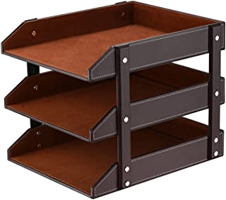 Leather Desk Organizer, Thipoten 3-Tier Stackable Letter Tray Holder for Office Supplies, Paper, File, Magazine, Perfect Office Organization for Desktop (Brown-3Tiers)