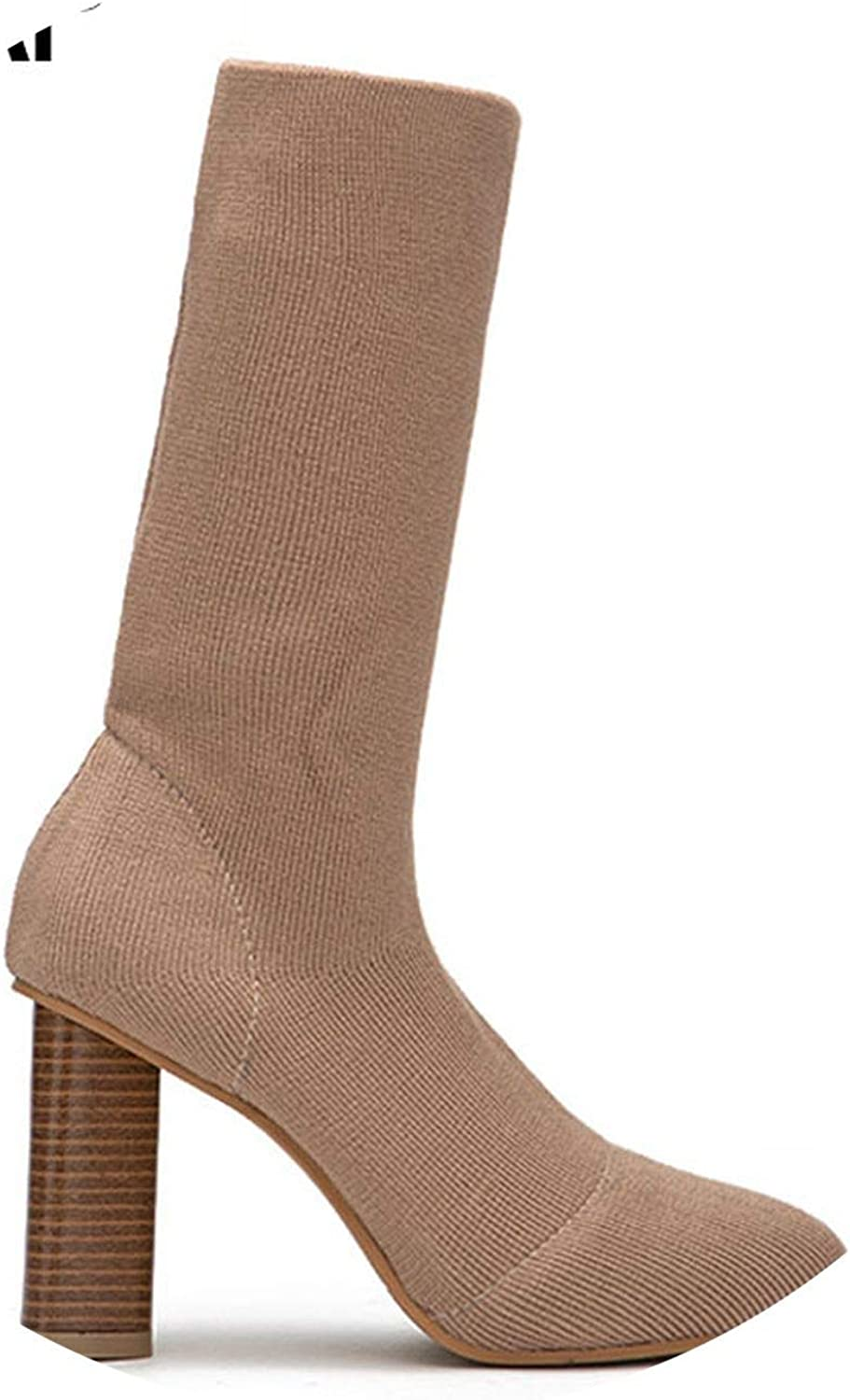 Warm Winter Boots High Heels Slip-On Socks Pointed Toe Ankle Knitting shoes 014C2577-4,Apricot,8.5,