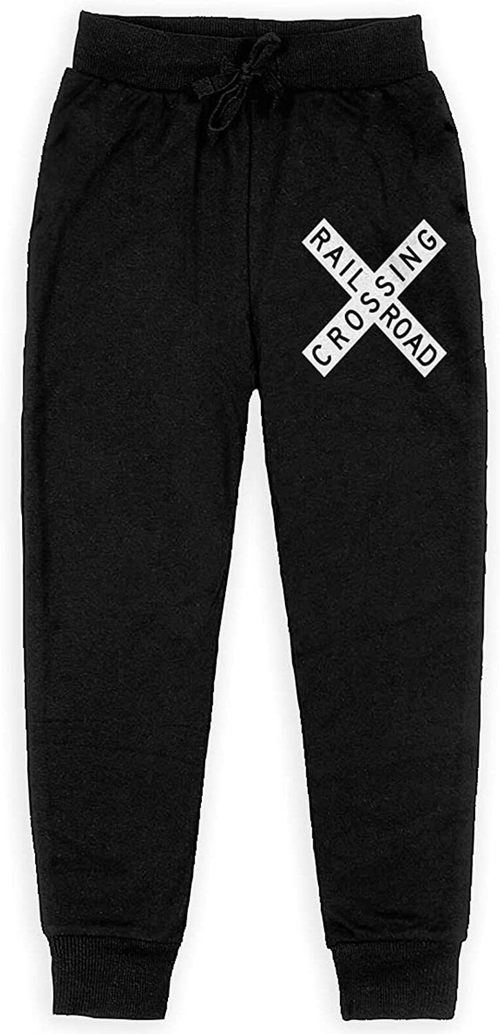 Meimeicaiopa Railroad Crossing Sign Boy's Training Flannel Sweatpants Girl Jogger Cotton Sweats Pants with Pockets