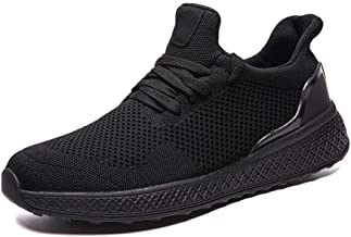 MYHYZZ-Athletic Shoes Athletic Shoes for Men Sports Shoes Lace up Style Mesh Material Pure Color and Individual Sewing Light Men's Casual Shoes