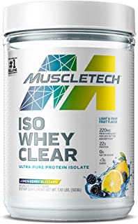Muscletech MuscleTech Clear Whey Protein Isolate for Women & Men, Lemon Berry Blizzard, Lemon Berry Blizzard, 19 Servings ...