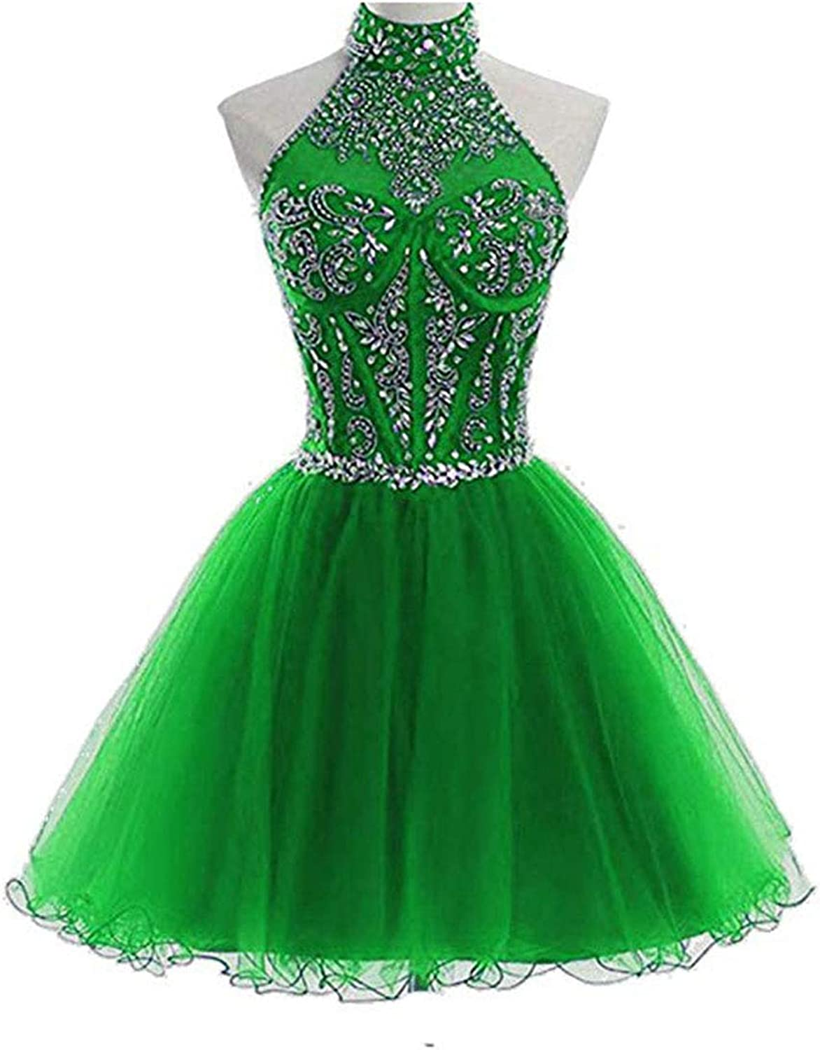 Alilith.Z Sexy Halter Beading Crystal Homecoming Dresses for Juniors Short Prom Party Gowns for Women 2018