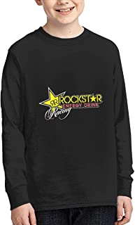 Evmjser Junior Youth Style Rockstar Energy Drink Long Sleeve Crewneck Tshirt Tee Black