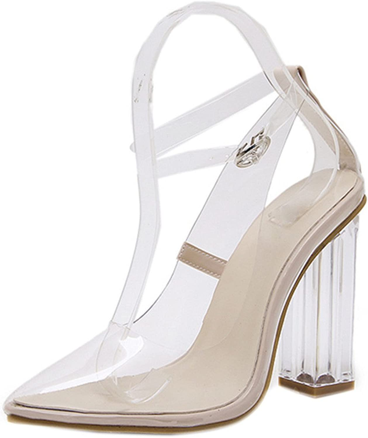 Anzhuangh High Heels shoes Woman New PVC Transparent Crystal Women Pumps Square Heel Pointed Toe Autumn Ladies shoes NL042
