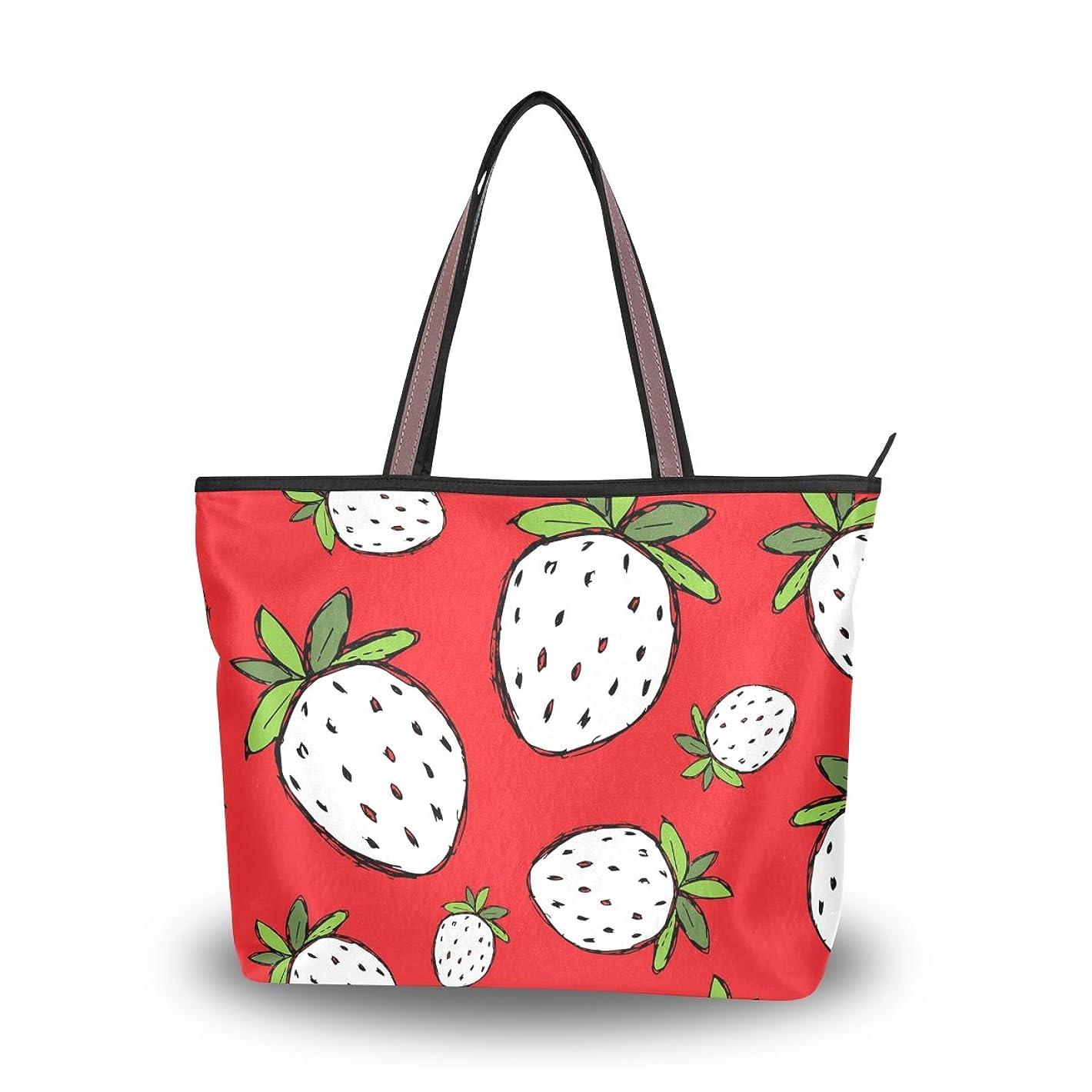 異形符号パフバララ (La Rose) トートバッグ レディース 大容量 通勤 通学 軽い 布 肩掛け a4 かわいい イチゴ 苺 赤い 果物柄 ハンドバッグ 高校生 キャンバス ファスナー 2way 手提げバッグ プレゼント対応
