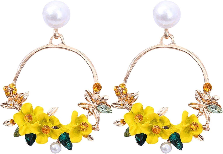 Heaven2017 Women Flower Studing Drop Earrings with Faux Pearl,Circle Clip On Earrings for Women Girls Jewelry Gifts