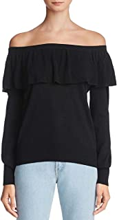 Womens Adinam Off The Shoulder Sweater Navy & White, Black Extra Small, Small, Medium, Large