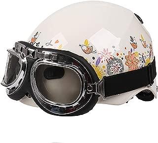 Flower Print Retro Harley Motorcycle Helmet with Goggle, Summer Breathable Half Helmet Adults Girls Women Lady M-L (53-60cm),M