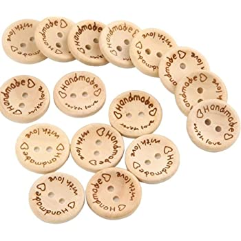 15//20 // 25mm 2 Holes Wooden Round Buttons for Sewing Craft Decorations OOTSR 150pcs Wooden Handmade with Love Buttons