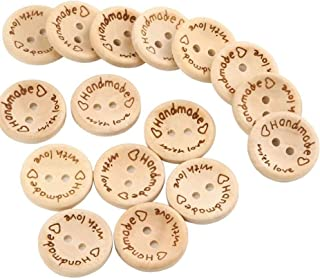 NUOMI 100Pcs Cute Wooden Craft Buttons 2 Holes 'Handmade with Love' Tags Labels for Sewing Clothing Accessories, DIY Crafting Projects Decorations 20mm