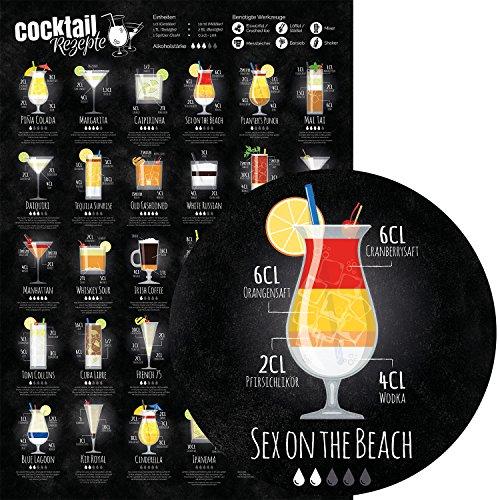 Chroma Products Cocktail Poster, 30 Cocktailrezepte + Erklärungen, DIN A1 (ca. 59,4 x 84cm), für Barkeeper oder Partykeller