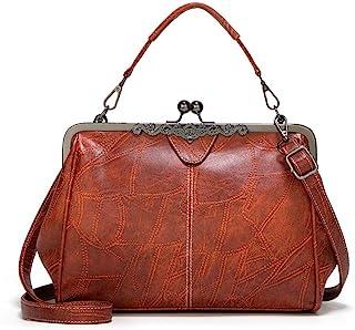 Women Retro Hollow Oil Wax PU Leather Handbag Kiss Lock Messenger Bag Handbags