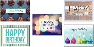 Birthday Greeting Card Assortment - VP1603. Greeting Cards Featuring Five Different Birthday Cards. Box Set Has 25 Greeting Cards and 26 Bright White Envelopes.