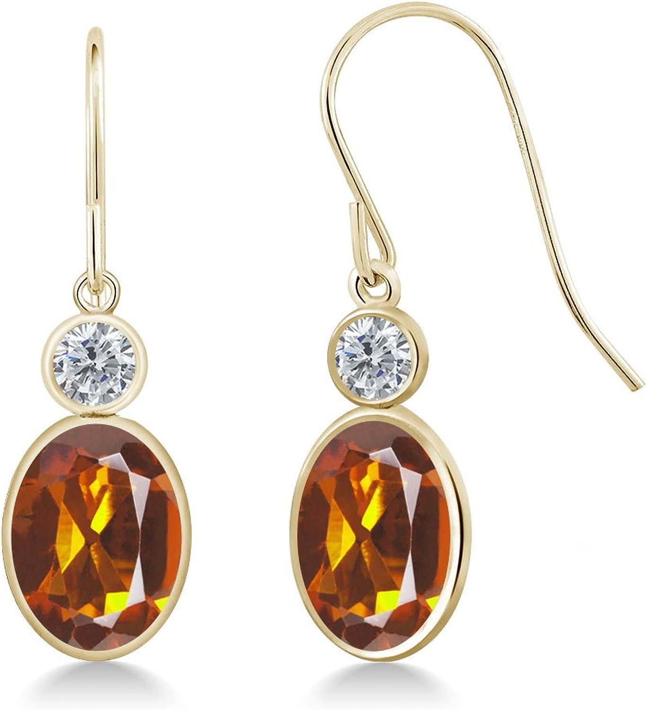 2.40 Ct Oval orange Red Madeira Citrine G H Diamond 14K Yellow gold Earrings