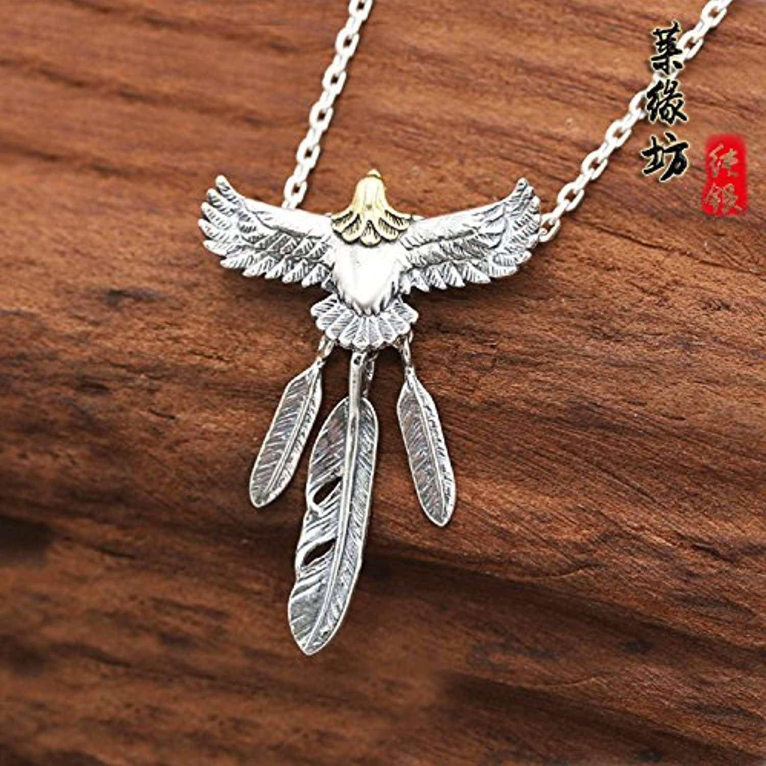 Silver Jewelry Takahashi Eagle Feather Necklace Pendant Tide Men and Women Girls Models 925 Silver Necklace Pendant Chain Angle Too