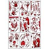 9pcs Halloween Stickers Bloody Handprint, Horror PVC