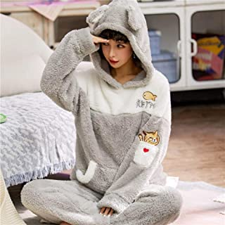 Winter New Pajamas For Women Thickening Warm Pajamas Set 2 Pieces Hooded Animal Cute Cartoon Female Sleepwear Home Service Zhaozb (Color : Gold, Size : XL)